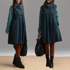 Green cotton loose pullover sweater / long-sleeved piles collar winter Bottoming shirt