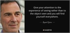 Rupert Spira: Give your attention to the experience of seeing rather than to the object seen and you will find yourself everywhere.