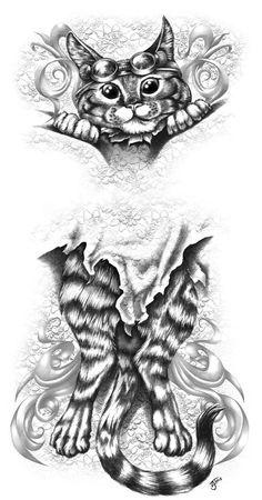 26b16513cb523 TSHIRT design - Steam Kitty Stowaway by Revenants1 on deviantART Tattoo  Studio, Tattoo Art,