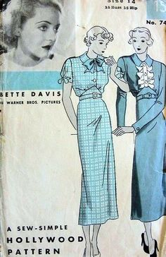 1930s BETTE DAVIS HOLLYWOOD PATTERN 743 DRESS SLIM STYLE, SHAPED WAIST, 2 SLEEVE STYLES LOVELY DESIGNS