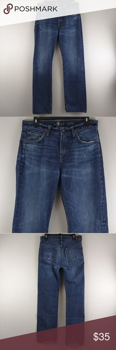 c334cdf74d 7FAM men's Straight leg AUSTYN jeans 32x34 Straight Fly Zip Medium Dark  Wash 100% Cotton
