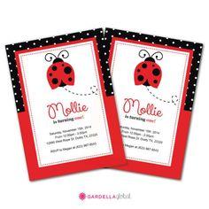Ladybug Invitation Ladybug invite Ladybug Birthday by DellaEvents Ladybug Invitations, Photo Invitations, Thank You Card Size, Thank You Cards, Lady Bug, Ladybug Party, Table Signs, Card Sizes, Cupcake Toppers