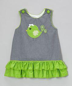Stellybelly Black Gingham Clover Bird Ruffle Jumper - Infant, Toddler & Girls | zulily