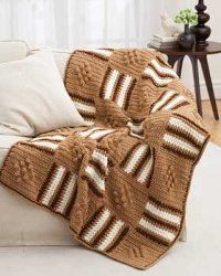I would just change the colors...This crochet afghan is made using chunky weight yarn and a J hook. The squares of diamonds and stripes really add to the design of the afghan. Neutral earth tones makes this crocheted afghan the perfect pattern to make for fall. Plus, it will work up quickly because of the bulky weight yarn that's used. You'll love snuggling on the couch with this homemade blanket.
