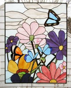 Butterfly Garden  28 x 37  Stained glass by StainedGlassArtist