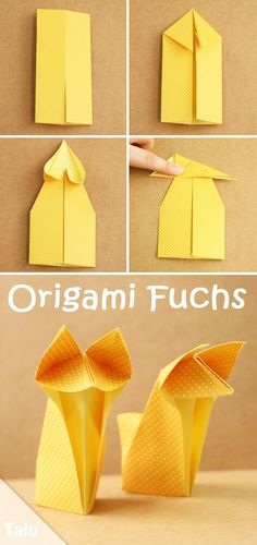 Origami fox fold - easy instructions for beginners with pictures - Talu.de - proyectos niños - Origami fox fold – instructions for beginners – Talu. Origami Fox Easy, Instruções Origami, Origami Yoda, Origami Star Box, Origami Paper Art, Origami Ball, Origami Folding, Useful Origami, Origami Stars