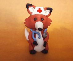 Foxy Nurse/polymer clay fox/clay fox sculpture/small fox figurine/polymer clay animal/woodland collectible/ Clay Fox, Polymer Clay Animals, Woodland, Sculpture, Unique Jewelry, Handmade Gifts, Etsy, Art, Kid Craft Gifts