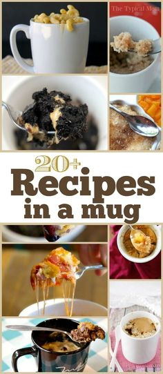 Mug recipes rock! Here are a bunch of dinner and dessert mug recipes to choose from that take about 1 minute to make and taste delicious! Microwave Mug Recipes, Mug Cake Microwave, Microwave Meals, Easy Desserts, Dessert Recipes, Healthy Desserts, Healthy Mug Recipes, Cup Desserts, Dinner Recipes