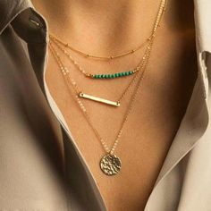 Turquoise Multi Layered Gold Chain Bead Necklaces Gold Chains Pendants Bohemian Necklace