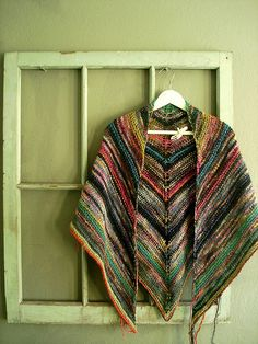 my melted crayon shawl, via Flickr. Simple But Effective pattern, Noro and Manos.