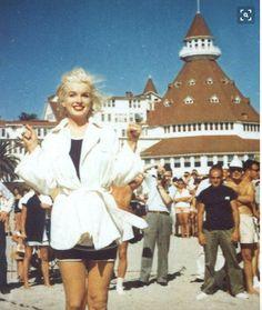 Marilyn Monroe at the famous Hotel Del Coronado.