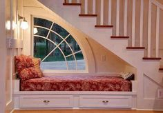 Want to use space under stairs for window, window seat, and in-wall shelf.a book nook. Space Under Stairs, Bed Under Stairs, Traditional Staircase, Cozy Nook, Cozy Corner, Cozy Place, Staircase Design, Stair Design, Staircase Ideas