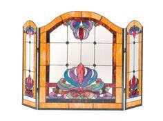 Anemone 3 Panel Glass Fireplace Screen