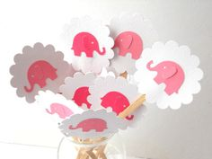 Pink Elephant Cupcake Toppers Qty 12--Baby Shower--Birthday Party. $5.50, via Etsy.