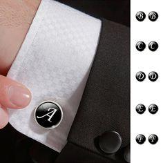 Alphabet Single Letter Black Silver Plated Vintage 16 mm Men Cuff Link - INNOVATIVE PRODUCTS PORTAL - MyProductPortal.com