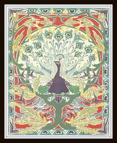 Art Nouveau Peacock Plate 1 Art Print 8x10 Home door BelleMaisonArt