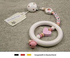 Farbbezeichnung B/är-Herz-natur-grau verschiedene Modelle-Geschenk zur Geburt oder Taufe Schnullerkette mit Namen f/ür M/ädchen und Jungen