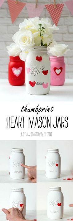 Valentine Kid Craft Thumbprint Heart Jars.