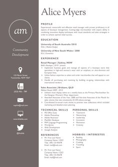 The Alice Resume 2 has been designed to stand out from the pack. The simple, and yet highly sophisticated, layout of the template is absolutely perfect for those who wish to upgrade their rather generic resume in order to boost the chances of a potential employer paying them attention. This template does not use colors in order to stand out. It takes a simple two-tone approach. This makes it perfect for usage when applying for professional positions. The Alice Resume Template instead stands out by boasting a simple and easy to read layout. Editing the template is as simple as filling in the 'blanks' and you have a resume that is sure to get noticed simply because it provides the employer with everything that they need in an easy to scan format.