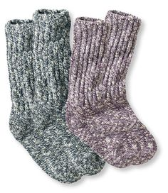 We knit these traditional ragg socks from soft, itch-free cotton slub yarns for an exceptional fit that won't bind or sag. The highly breathable fabric wicks moisture and dries faster than all-cotton socks. And the soft yarn feels great against your skin. Two pairs. Made in USA. Machine wash and dry.