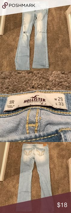 HOLLISTER Ripped Jeans with a Washed Color This cute HOLLISTER jeans are perfect for any season! They are lightly ripped in the front and boot cut on the bottom. Hollister Jeans Boot Cut