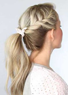 A pony hairstyle for school. School hairstyles should be easy and comfortable. However, it doesn`t mean they should not be stylish. High ponytail, ballerina bun, half down hair with sideswept bang are good solutions for school. - See more at: haircut-styles.or...