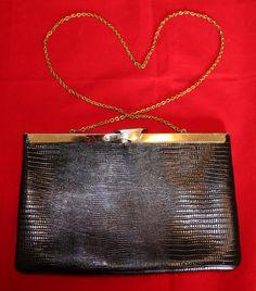 Vintage Black Leather Purse  Clutch or by ilovevintagestuff