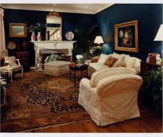 Dark and sultry - great room for conversation! Via Donna's Blog - A Designer's Perspective: Are you Blue for Blue?