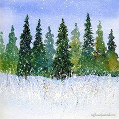 Winter Wondrland Watercolor with Splattered Acylic Paint-myflowerjournal.com