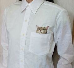 Peekaboo Cat Embroidery by Hiroko Kubota