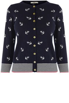 An all over anchor print womens cardigan. Features three quarter length sleeves, stripe print detailing to hem and cuff which adds to the nautical theme. Long Cardigan, Knit Cardigan, Nautical Outfits, Nautical Theme, Nautical Clothing, Estilo Navy, Anchor Sweater, Preppy Style, My Style