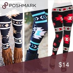 TRIBAL AZTEC PRINT BRUSHED LEGGINGS OS TRIBAL AZTEC PRINT BRUSHED LEGGINGS OS, get cozy with these cute and super soft brushed leggings, comes in black and khaki tribal boho print or red and black, wear these with a dressy top and wedges for a more classy look it an oversized off the shoulder top for a more casual comfy cozy look with boots, adorable 92% poly, 8% spandex Pants Leggings