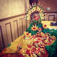 Peacock fruit display for a peacock themed event!