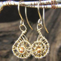Padparadscha Sapphire Earrings 14 KGF Wire Wrapped Spirals Petite | bohowirewrapped - Jewelry on ArtFire