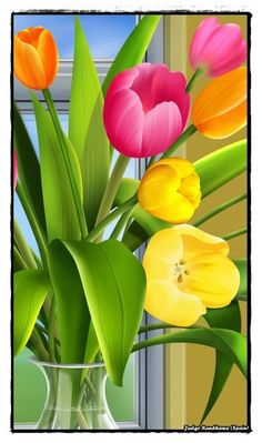 Tulip flower paintings #paintings ...BTW,Please Check this out: http://artcaffeine.imobileappsys.com