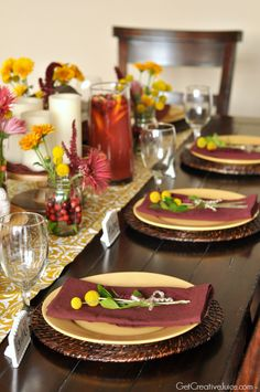 Cranberry and Mustard Holiday Tablescape Ideas