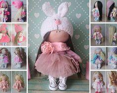 Muñecas Art doll Fabric doll Rag doll Baby doll Tilda doll Handmade doll Pink doll Cloth doll Baby doll Interior doll Textile doll by Elvira