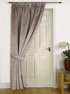 Mink Thermal Door Curtain  FAUX VELVET FABRIC- Reduces Heat Loss Prevents Draughts Saves Energy.