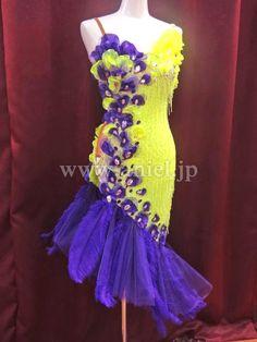 Социальный танец платье платье фитнес-модель / L2295・флуоресцентный желтый и фиолетовый