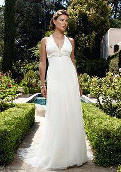 Halter A line Tulle Sleeveless Floor Length Timeless Wedding Dress - Lunadress.co.uk