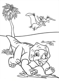 Petrie Flying Over Cera Land Before Time Coloring Page Dinosaur PagesDisney