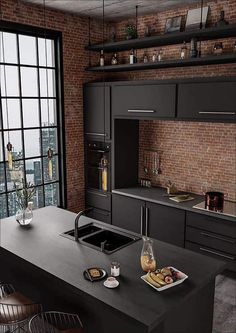 Interior Decorating Styles 64835 how to decorate a small open industrial style kitchen, kitchen furniture in matt anthracite gray, lighting filament bulbs Funky Kitchen, Kitchen Ideas, Diy Kitchen, Loft Kitchen, Kitchen Black, Kitchen Decor, Sweet Home, Dark Interiors, Dream Home Design