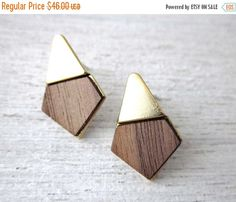 Pre-holiday sale Yoko Earrings wood veneer posts by shlomitofir