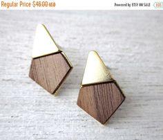 Yoko Earrings, wood veneer posts, geometric studs