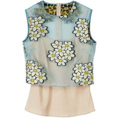 Redvalentino Daisy Overlay Sleeveless Top ($170) ❤ liked on Polyvore featuring tops, light blue, daisy tanks, camisoles & tank tops, summer tank tops, sheer top and see through tank top