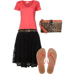 """""""Coral, Leopard, & Lace"""" by sandy-simmons on Polyvore"""