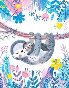 Wallpaper Kawaii, Childrens Artwork, Baby Drawing, Sloth Drawing, Baby Illustration, Cute Sloth, Baby Sloth, Baby Art, Nursery Wall Art