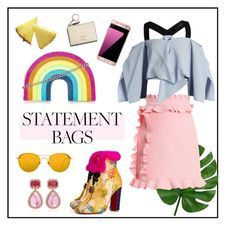 """#statementbags"" by hellodollface ❤ liked on Polyvore featuring Linda Farrow, Dana Rebecca Designs, Christian Louboutin, MSGM, Roland Mouret and statementbags"