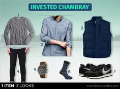 Bundle up that chambray shirt for a great look in cooler weather. Set up your look with a GAP Clean Chambray Shirt, J.Crew Slim Flagstone Marled Henley, and a North End Down Vest Jacket.