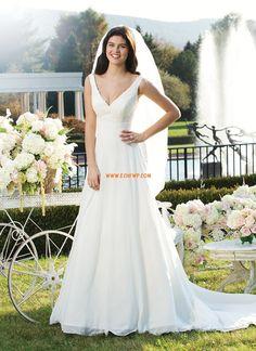 Vestidos Blanco Escote en V Natural Vestidos de Novia 2014